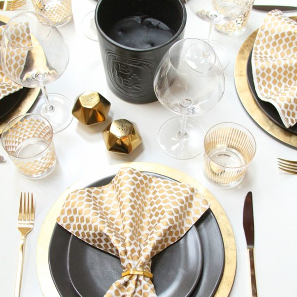 Black + Gold Glam Thanksgiving Table