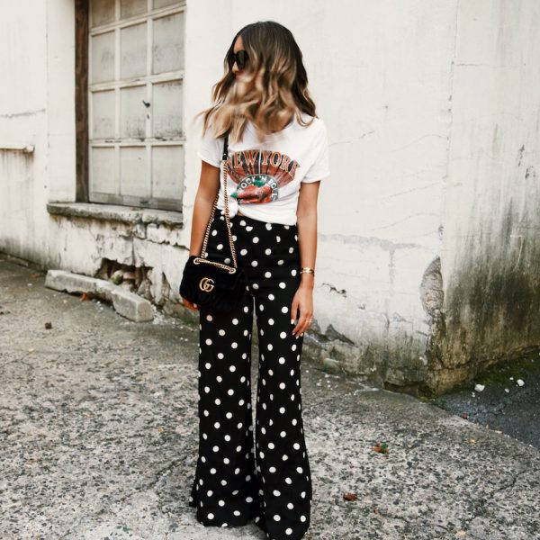 Polka Dot Pants & Graphic Tee