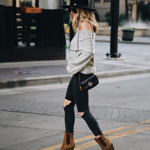 Grey Off-The-Shoulder Sweater